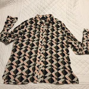 Topshop Geometric Button Up Blouse, long sleeves